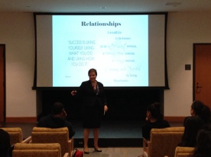 Marisel Herrera speaking to Marist students and faculty.