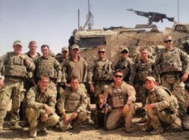 Matt and Gulliver with British troops they supported in Afghanistan