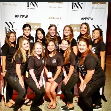 The fashion students who helped set up the NYFW event.