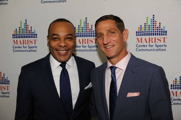 Center for Sports Communication Director Keith Strudler with Marist alumnus and CBS News Specials Producer Alvin Patrick on the red carpet