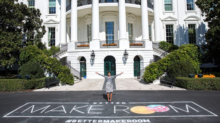"First Lady Michelle Obama poses with chalk art for the public awareness campaign ""Better Make Room"" Photo Courtesy of whitehouse.gov"