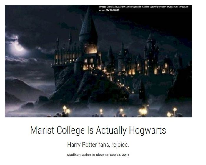 Marist students frequently refer to the Dining Hall as Hogwarts. See the comparisons here: http://theodysseyonline.com/marist/marist-college-hogwarts/168986