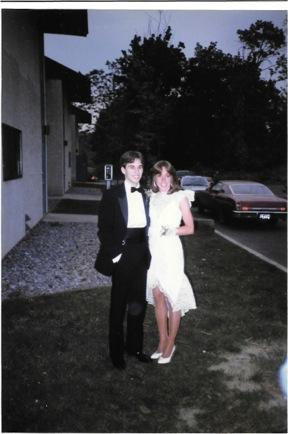 Marist Senior Formal; Jeff and I pose in front of Foy Townhouses, spring of 1985.