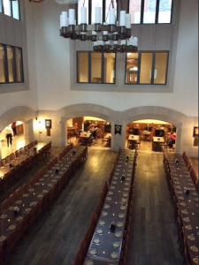 "Marist's ""Great Hall,"" with tables set up to represent Gryffindor, Slytherin, Ravenclaw and Hufflepuff; Photo courtesy of Alyssa Hurlbut."