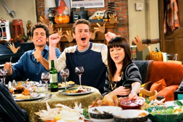 """""""Slapsgiving"""" -- Ted (Josh Radnor) Marshall (Jason Segel) and Lily (Alyson Hannigan) on HOW I MET YOUR MOTHER, Monday, Nov. 19 (8:00-8:30 PM, ET/PT) on the CBS Television Network. Photo: Monty Brinton/CBS ©2007 CBS Broadcasting Inc. All Rights Reserved."""